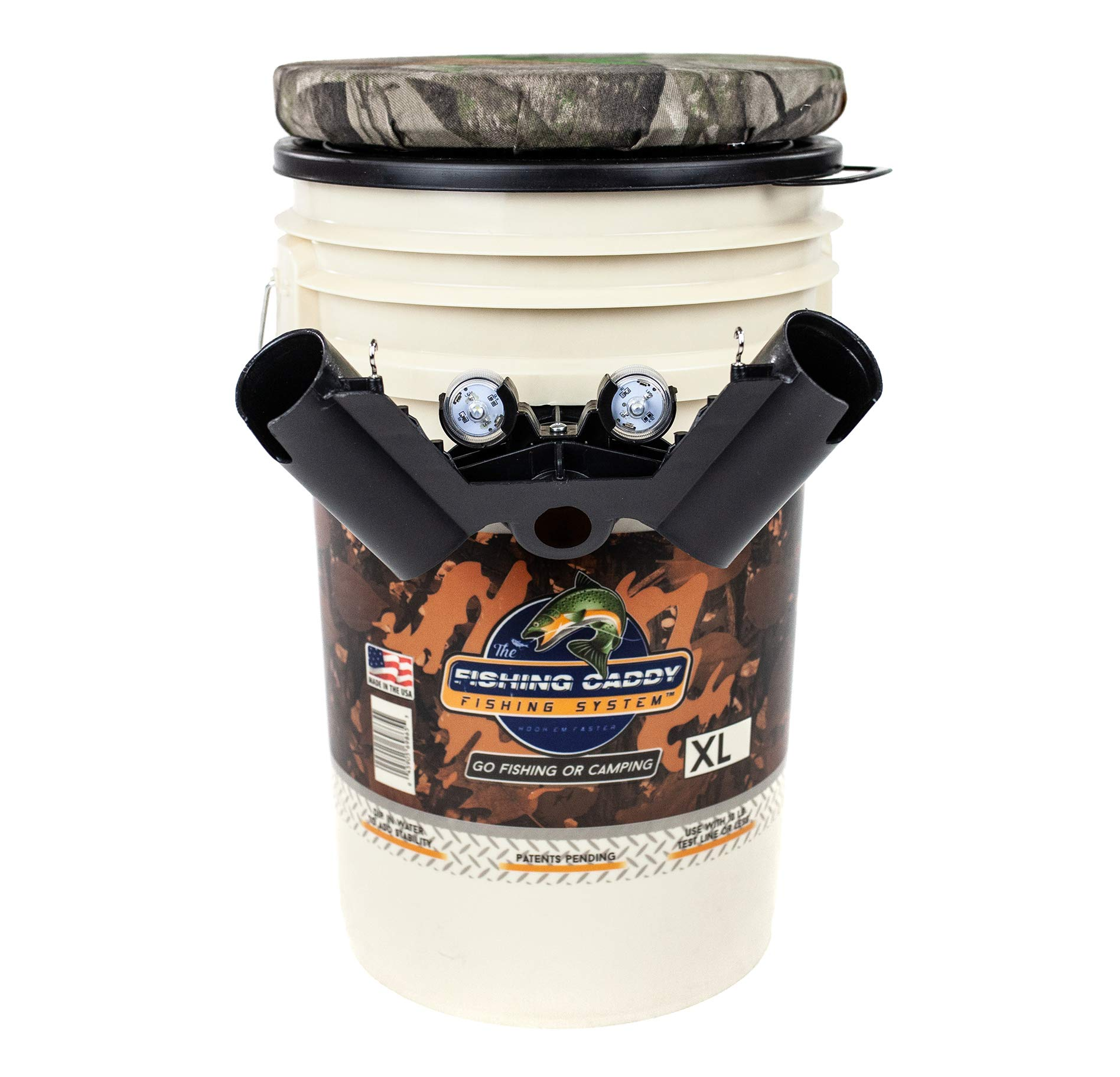 THE FISHING CADDY - Fishing Bucket Storage or Bait Holder w/CAMO Swivel Padded Seat, Dual Fishing Rod Holder, Cup Holder or Beer Holder & LED Waterproof Light for Night Fishing - Fisherman Gift Camo