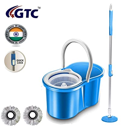 GTC Best Homes 360� Spin Floor Cleaning Easy Magic Plastic Bucket Mop with 2 Microfiber Heads(Color May Vary)