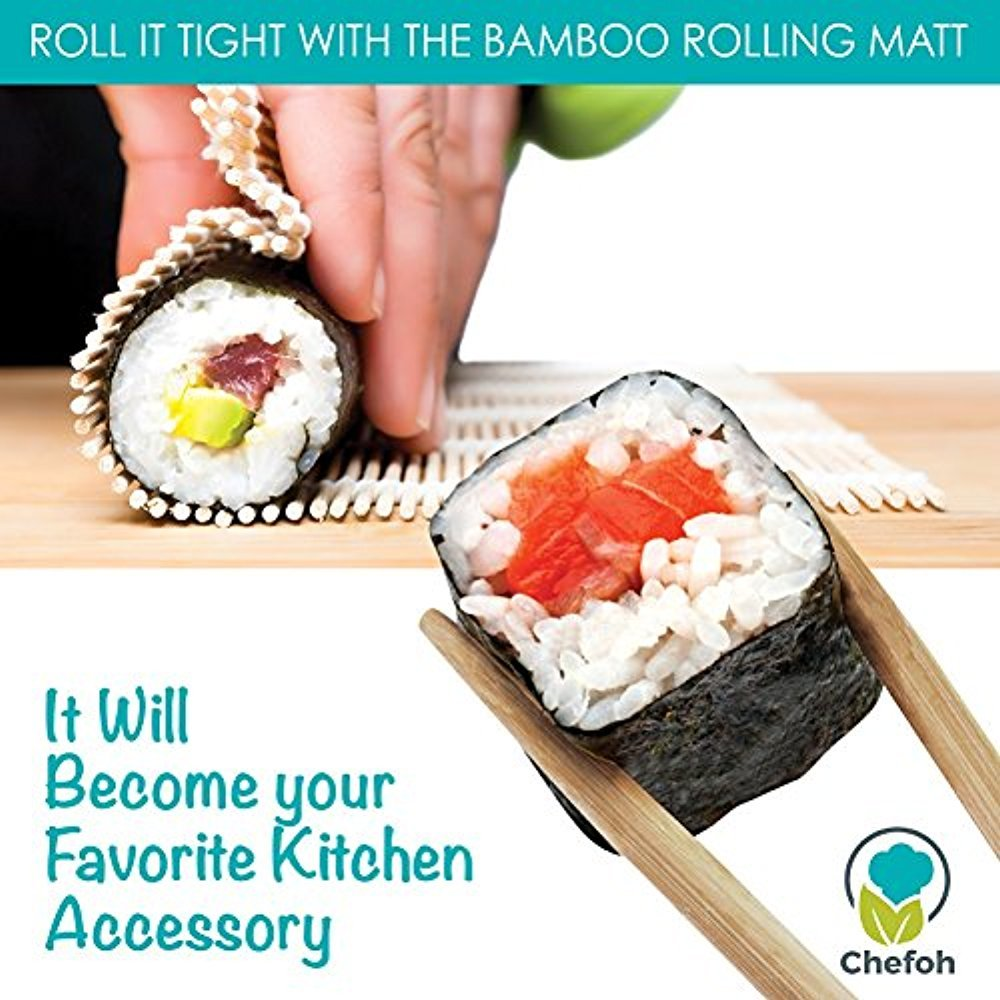 All-In-One Sushi Making Kit   Sushi Bazooka, Sushi Mat & Bamboo Chopsticks Set   DIY Rice Roller Machine   Very Easy To Use   Food Grade Plastic Parts Only   Must-Have Kitchen Appliance by Chefoh (Image #5)