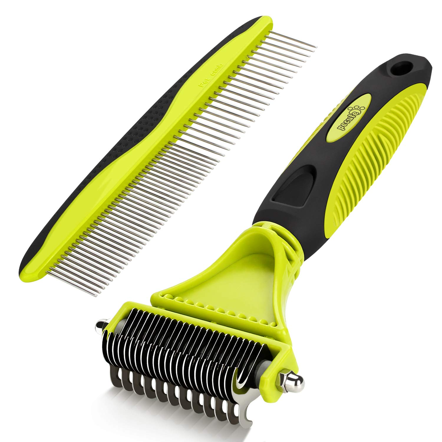 Pecute Dematting Comb Grooming Tool Kit for Dog & Cat Double Sided Blade Rake Comb with Grooming Brush by Pecute