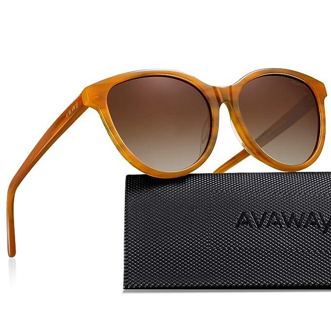 AVAWAY Retro Mujer Gafas De Sol Polarizadas Protección UV400 Acetato Marco