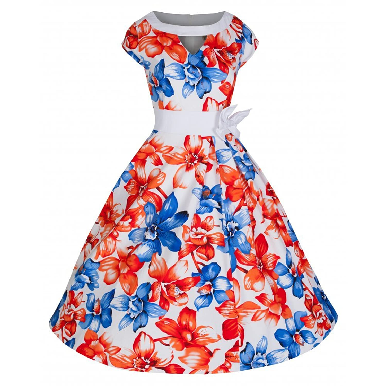 Lindy Bop 'Kelly' White Lily Swing Dress