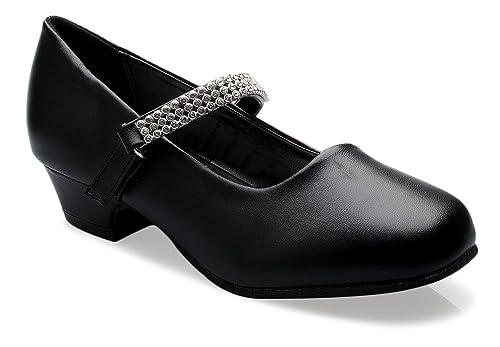 5fd1d115aa OLIVIA K Girls Kitten Heels Mary Jane Shoes - Round Toe with Rhinestone  Enclosure