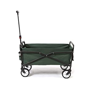 SEINA Heavy Duty Compact Folding 150 Pound Capacity Outdoor Utility Cart, Green
