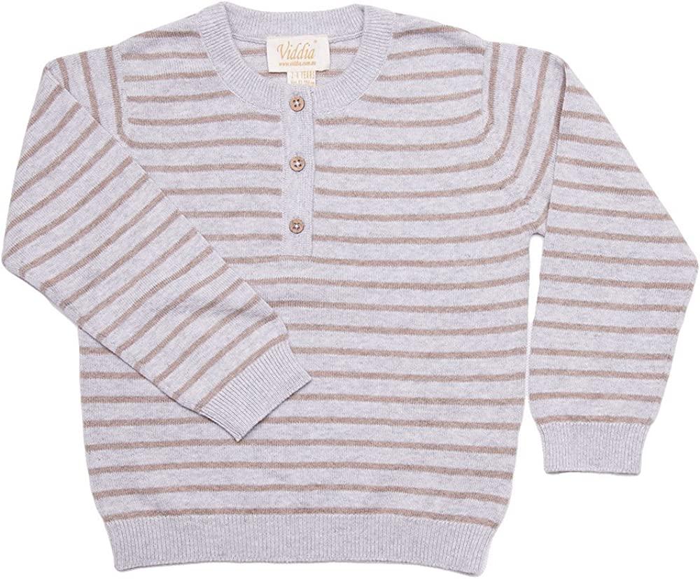 Baby to Six Year Viddia Grey and Beige Striped Jumper with Front Placket