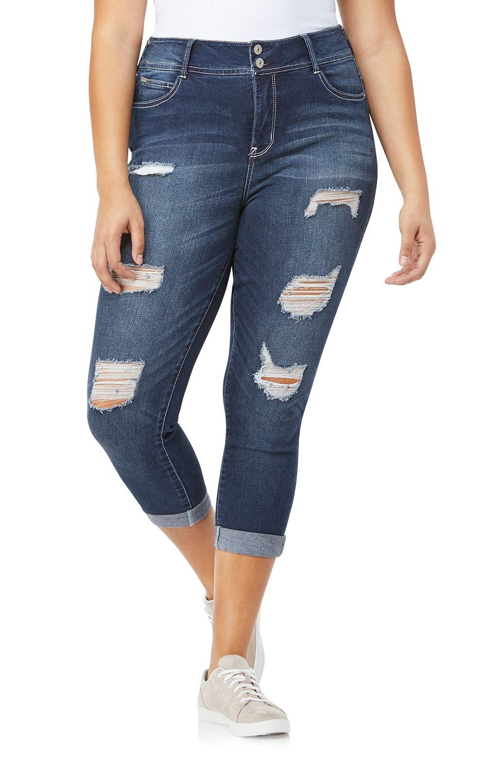 WallFlower Women's Plus-Size Luscious Curvy Destructed Ankle Skinny Jeans in Shawna, 14 Plus