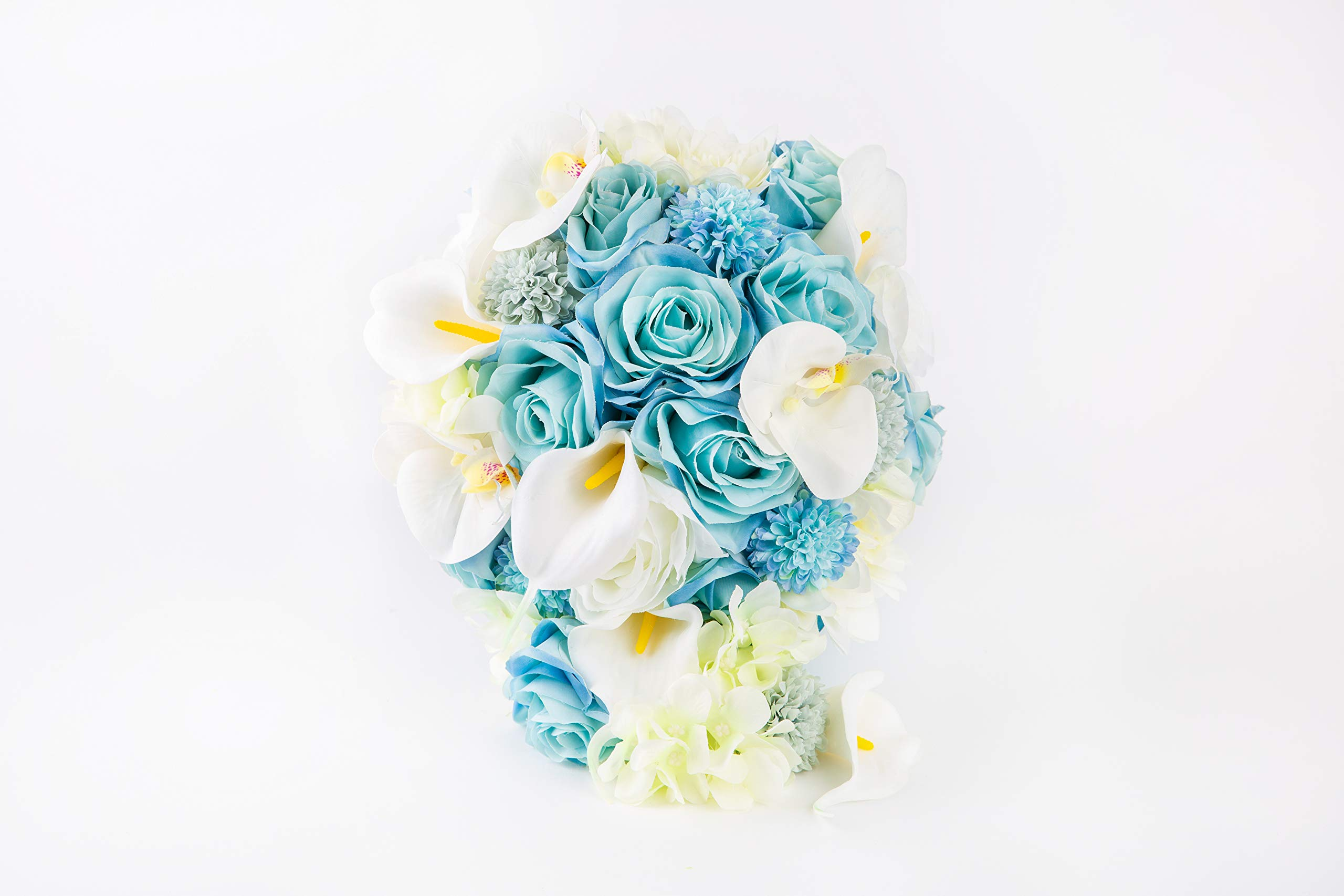 Abbie-Home-Light-Blue-Calla-Lily-White-Dahlia-Cascading-Bridal-Bouquets-Silk-Flowers-for-Beach-Wedding-with-Ribbon-and-Lace-Dcor-A-Cascading-Bouquet