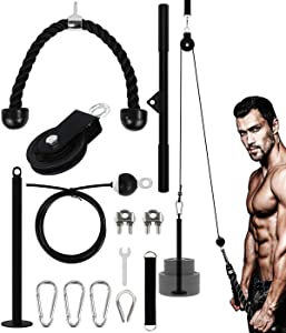 YaNovate Fitness LAT and Lift Pulley System with Loading Pin Tricep Strap Bar Cable Rope Machine for Muscle Strength, Home Workout Gym Equipment for Pull Downs, Biceps Curl, Forearm, Shoulder