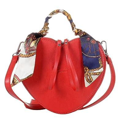 7d06d3cd9c6c1 QZUnique Women s Heart Shape PU Leather Handbag Exquisite Shoulder Bag Silk  Top Handbag Shoulder Bag
