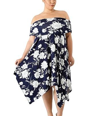 f2b4d8e694d YIHUAN Women s Off Shoulder High Waist Floral Print Irregular Skirt Plus  Size Loose Dress at Amazon Women s Clothing store
