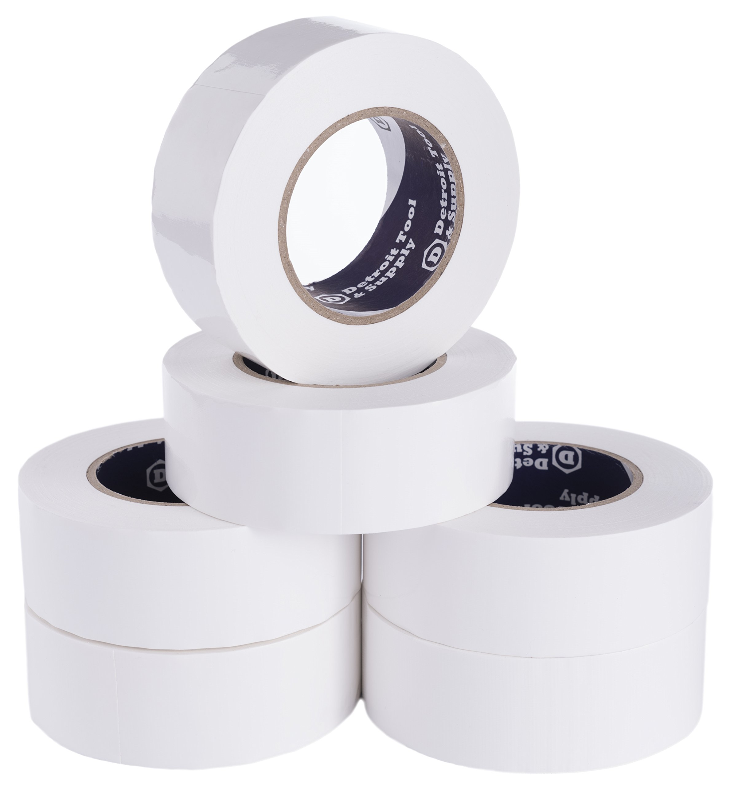 Detroit Tool and Supply 1.8-Inch Wide Duct Tape, White - 55 yard, 6 Rolls