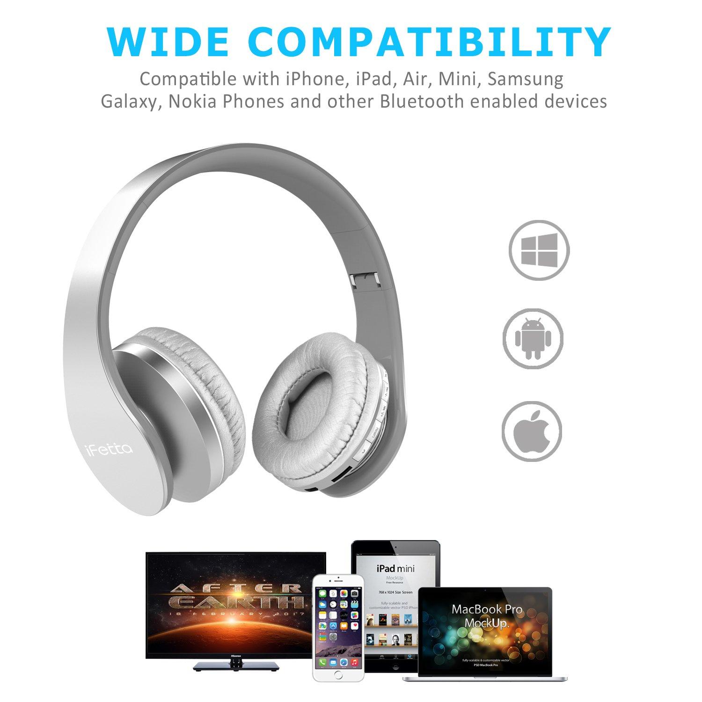 Ifecco Bluetooth para auriculares estéreo V4.0 Música plegable Over-oreja sonido de alta fidelidad Calling construido en Mircophone manos libres, Bluetooth de diadema plegable con micrófono y cable de Audio para Apple iPhone, PC, Mac y TV (