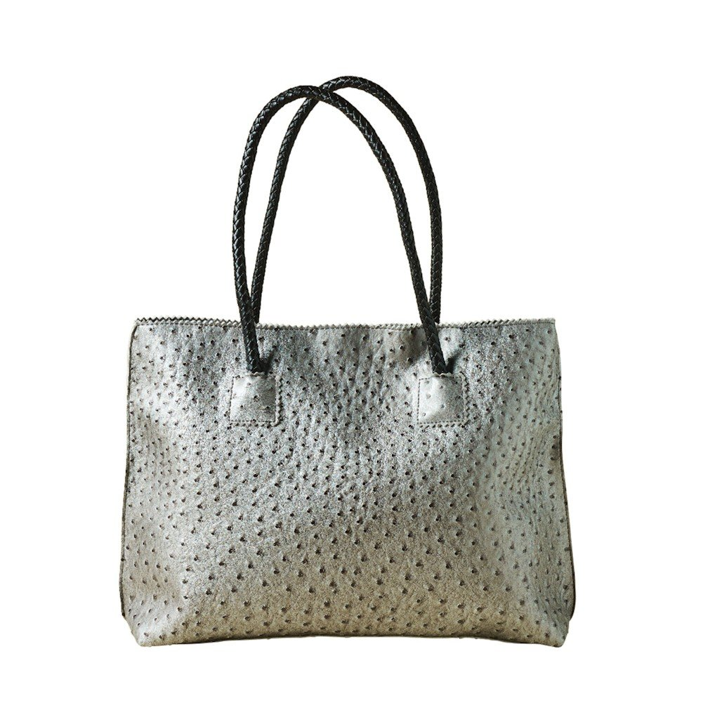 Women's Vegan Handbag - Ostrich Look Embossed Tote with Zip Close - Pewter