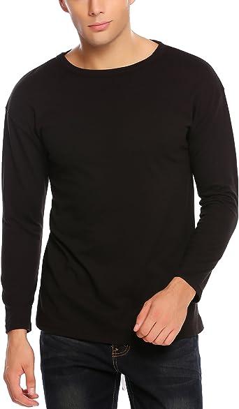 Coofandy - Camiseta de Manga Larga con Cordones para Hombre, Estilo Hip Hop - Negro - Small: Amazon.es: Ropa y accesorios