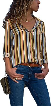 Aleumdr Mujer Camisate de Liso Blusa Manga Larga Camisa Irregular Casual Marrón Size S: Amazon.es: Ropa y accesorios