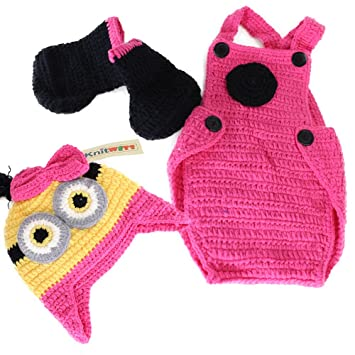 Amazon Crochet Baby Girl Minions Hat Overalls Boots Costume