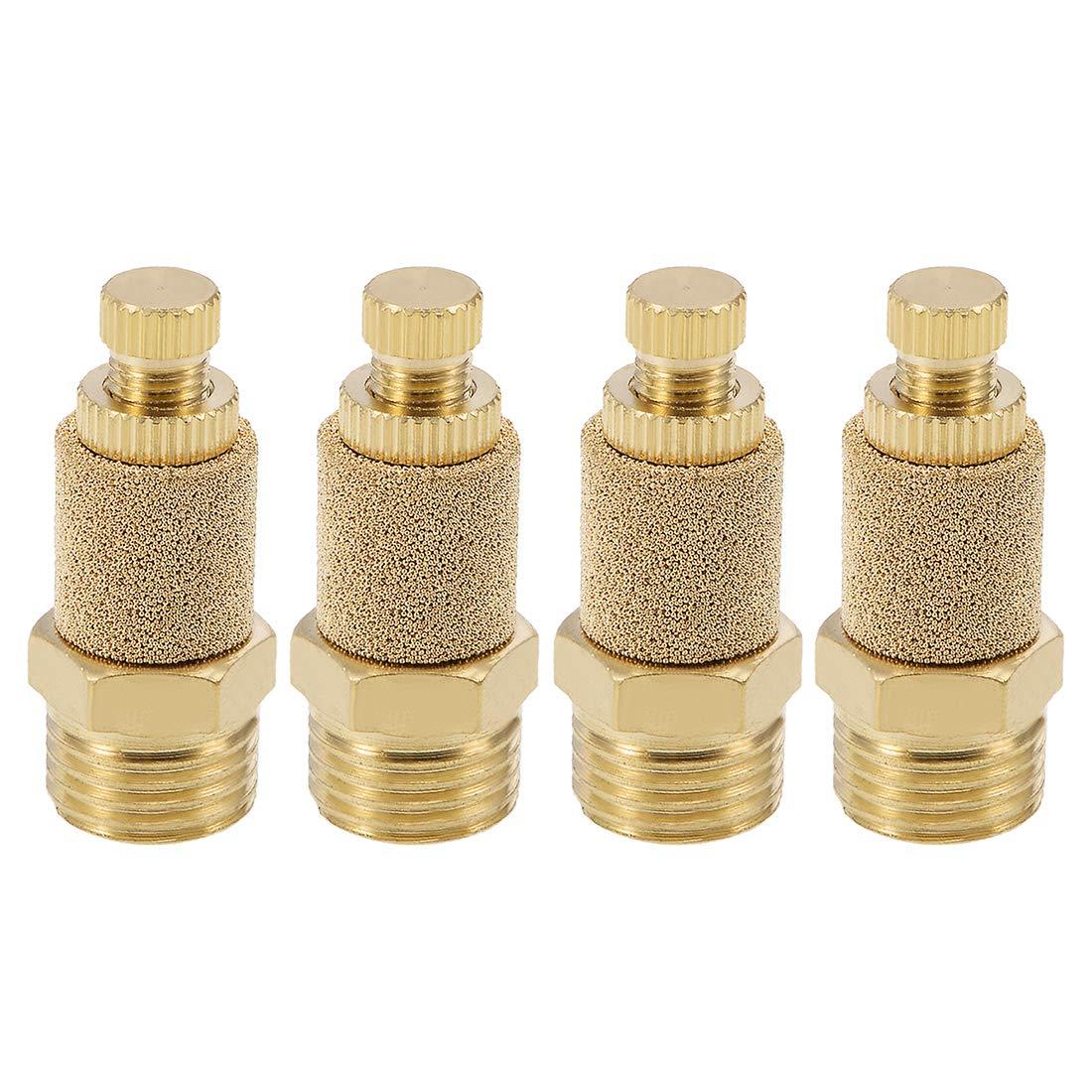uxcell Top Adjustable Pneumatic Air Exhaust Silencer Muffler Copper 1/4 BSPT Gold Tone 4pcs