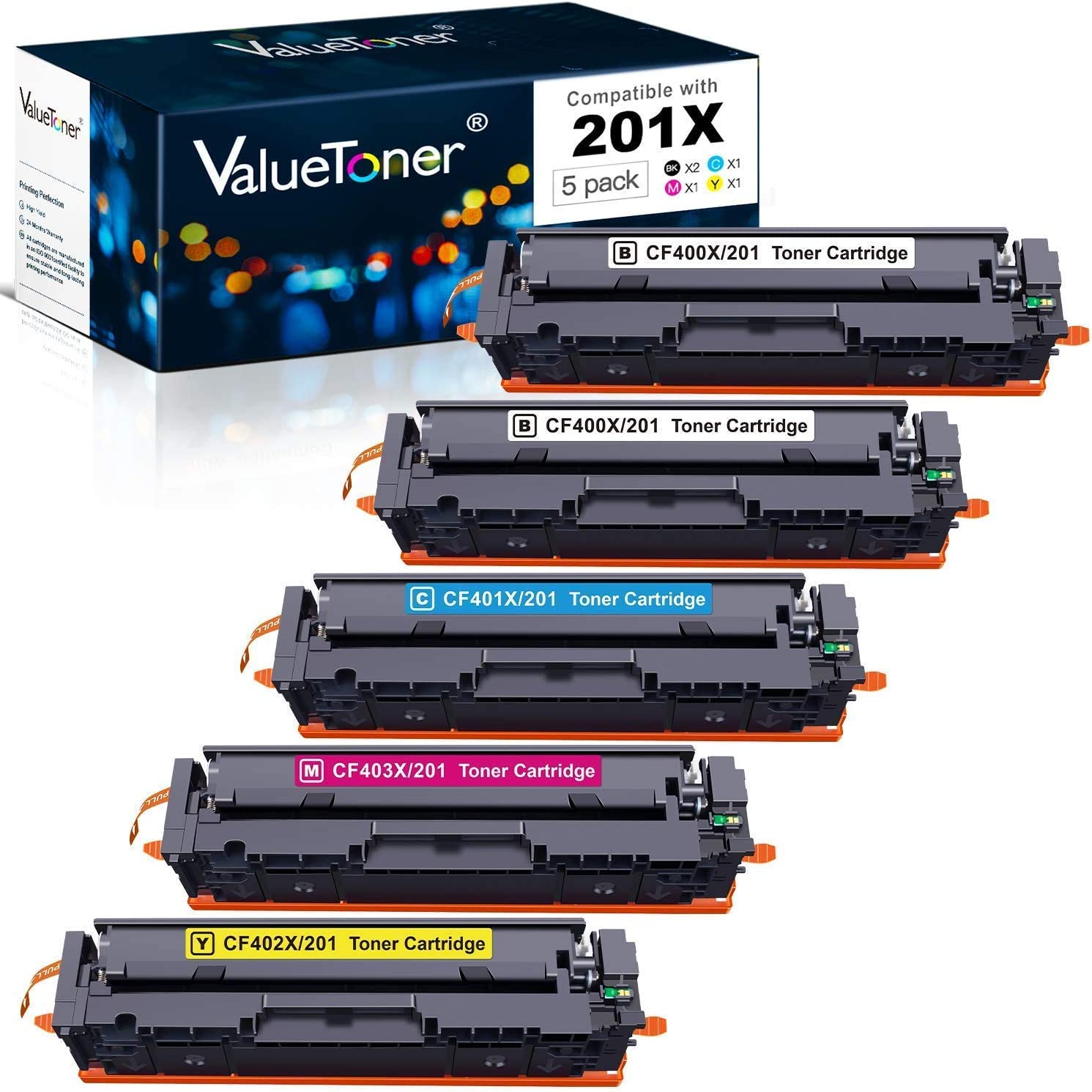 Valuetoner Compatible Toner Cartridges Replacement for HP 201X 4 Pack (Black, Cyan, Magenta, Yellow) Bundled with 1 Black, Total 5 Pack