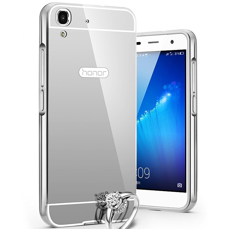 LXHGrowH Funda Espejo Aluminio Metal Carcasa para Huawei Y6 Color Plata [no para Huawei Y6 II/Honor 5A 5.5