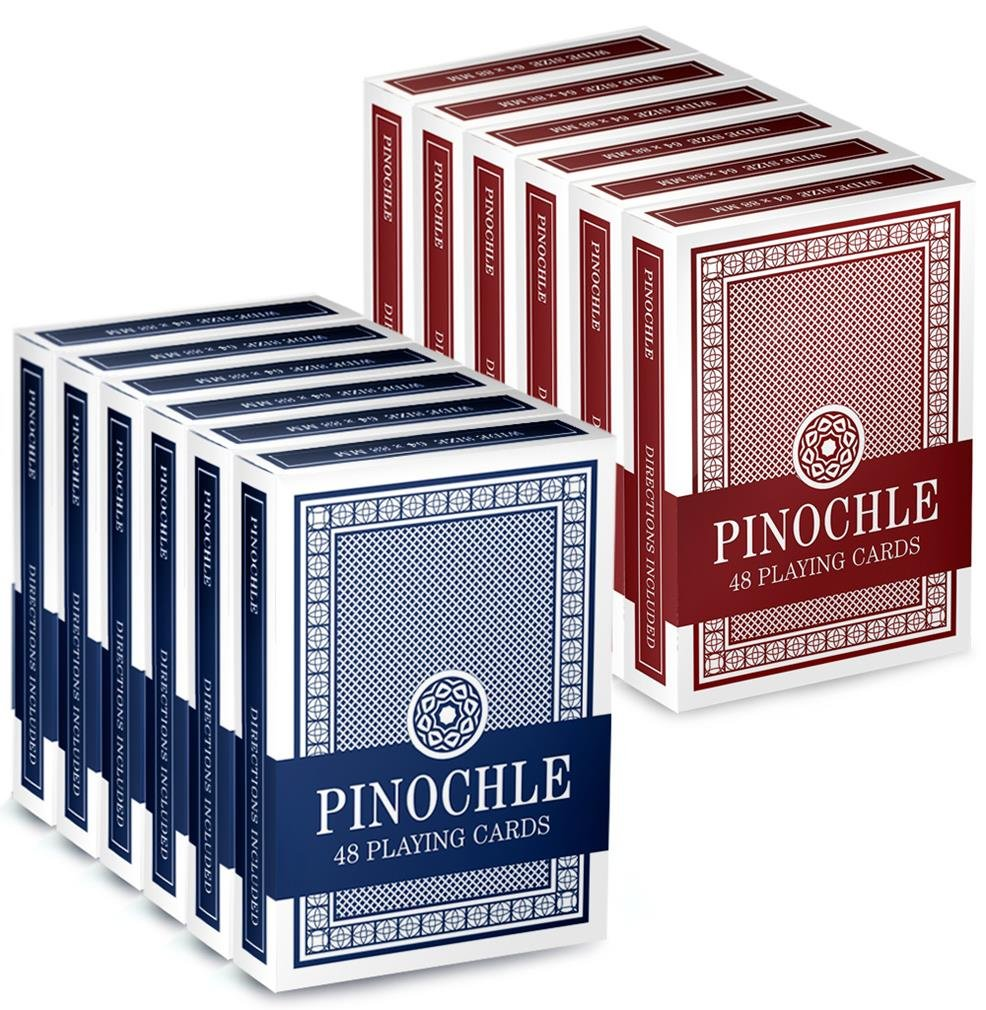 Brybelly Pinochle Playing Cards (Pack of 12), Red/Blue by Brybelly (Image #1)