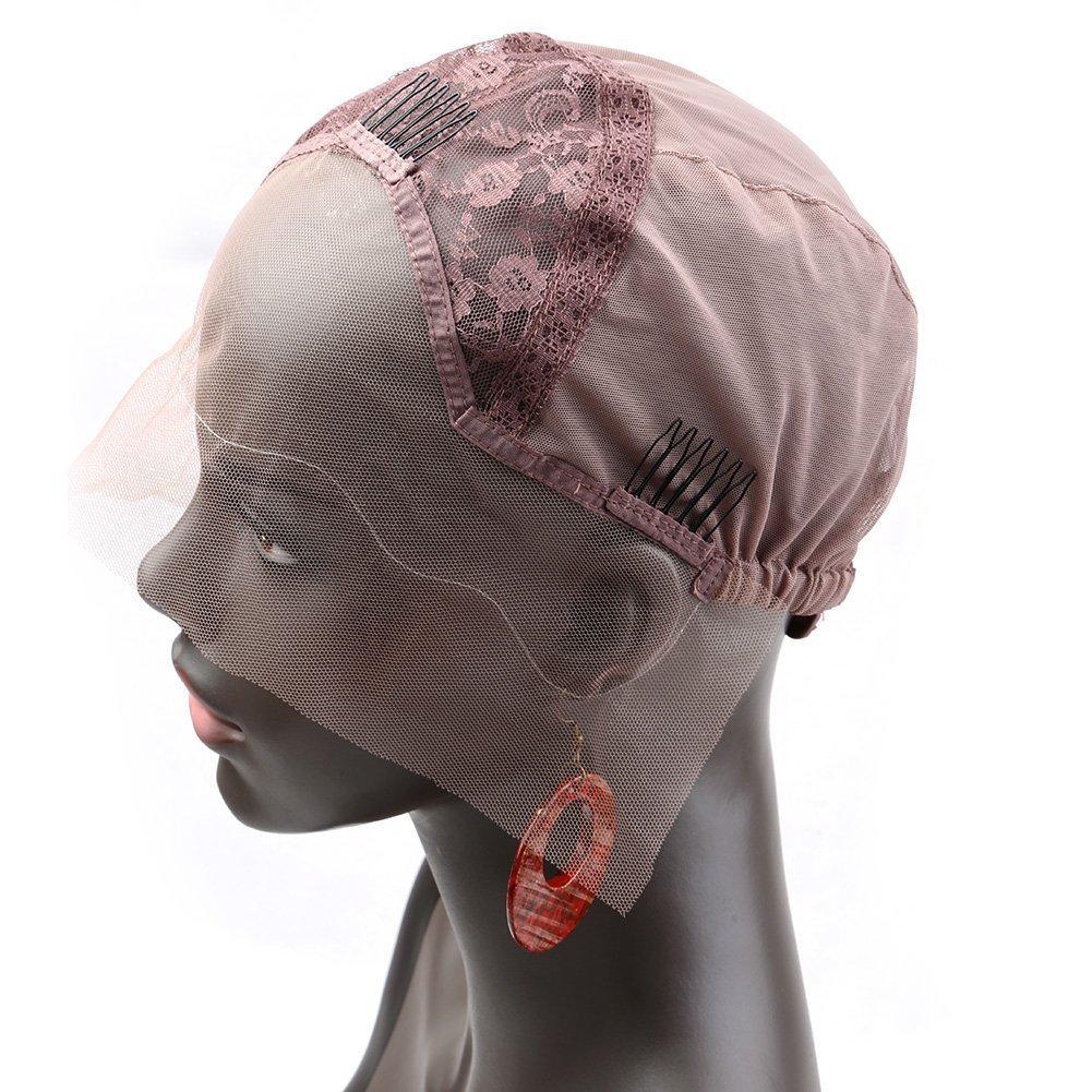Bella Hair Casquillos Pelucas de Encaje Rosa para Pelucas Fabricación Marrón Oscuro Tamaño Medio - con Correas Ajustables, Peines y Red Elástica (Wig Cap) Ltd.