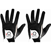 Men's Golf Glove Pair or Value 2 Pack, Hot Wet Rain Grip Left Right Hand, Black Grey Fit Small Medium Large XL, By Finger Ten