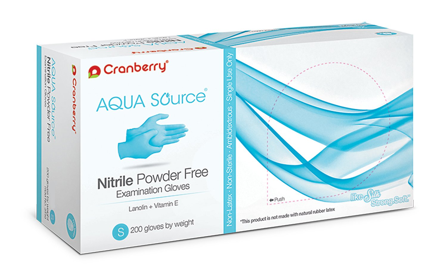 Cranberry USA CR3446case Aqua Source Powder Free Exam Gloves, Small, Nitrile, Beaded-Cuff, Blue (Pack of 2000)