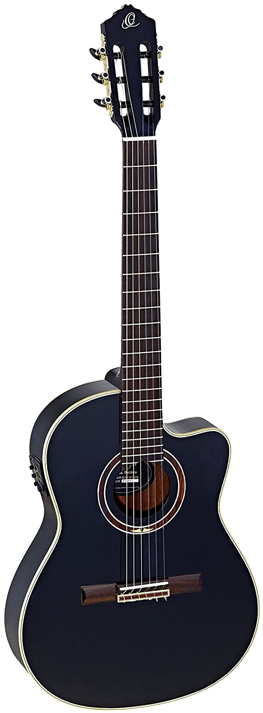 Ortega Guitars RCE138-4BK Feel Series Slim Neck Nylon 6-String Guitar with Solid Spruce Top Pickup Mahogany Body