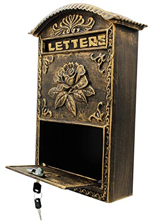 Locking Wall Mounted Mailbox Bronze Vintage Aluminum With Rose
