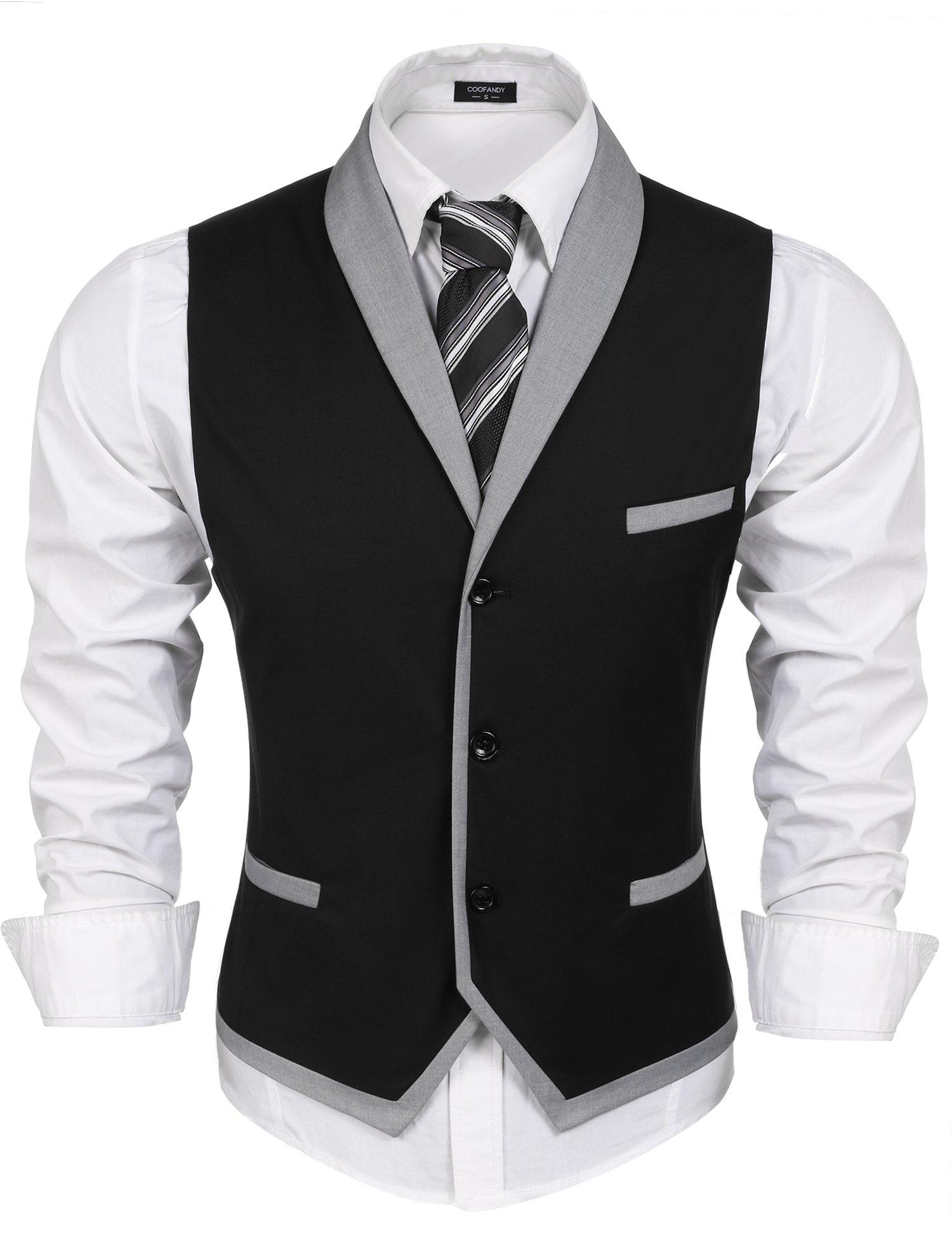 Coofandy Men's V-neck Sleeveless Slim Fit Vest,Jacket Business Suit Dress Vest, Black, Large(Chest  45.3) by COOFANDY