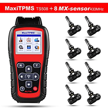 Autel TS508 TPMS Diagnostic Tool Check TPMS System Health Condition,  Program MX-sensors and Conduct TPMS Relearn, With 433MHZ MX-Sensor  Rubber/Metal