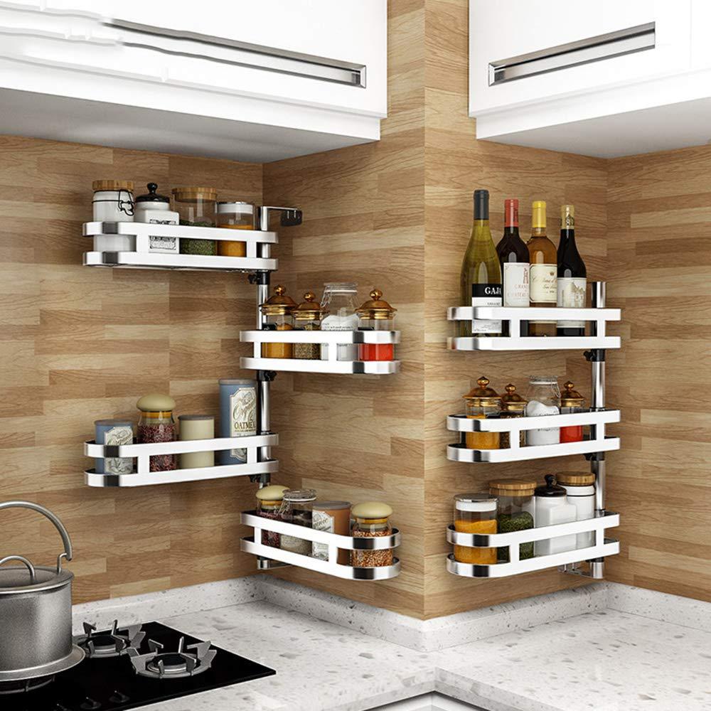 ; 36 * 11 * 30cm scaffale Rotante ad Angolo Microwave oven rack Cremagliera da Cucina con portaspezie da Appendere a Parete Senza Foratura