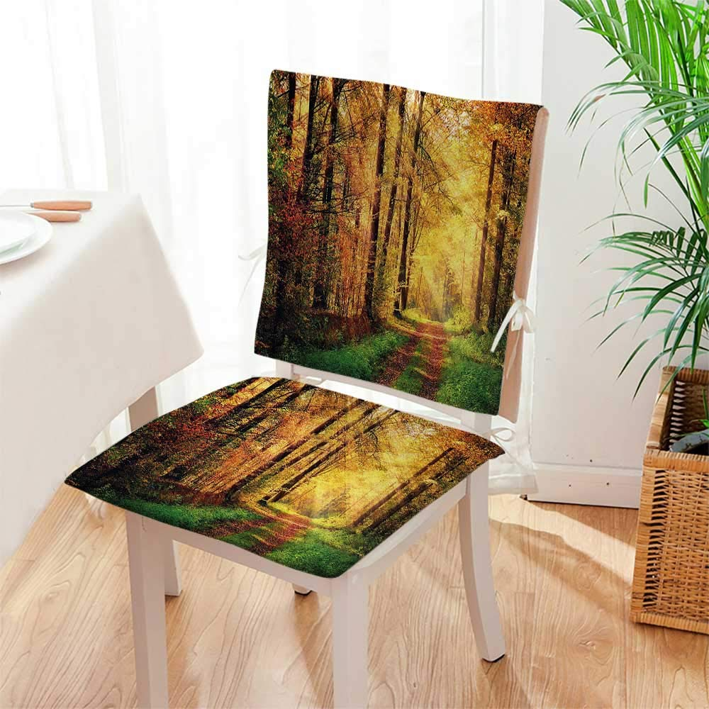 Mikihome Beautiful Chair Cushion Scenery with Rays ofSun Lights on Shady Trees Woods Art Yellow Green Indoor and Outdoor Cushion Mat:W17 x H17/Backrest:W17 x H36