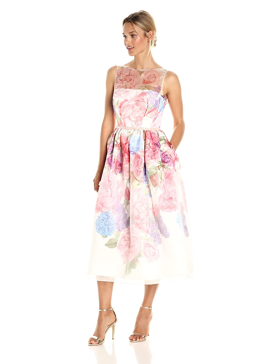 Carmen Marc Valvo Infusion Women\'s Floral Organza Party Dress with ...