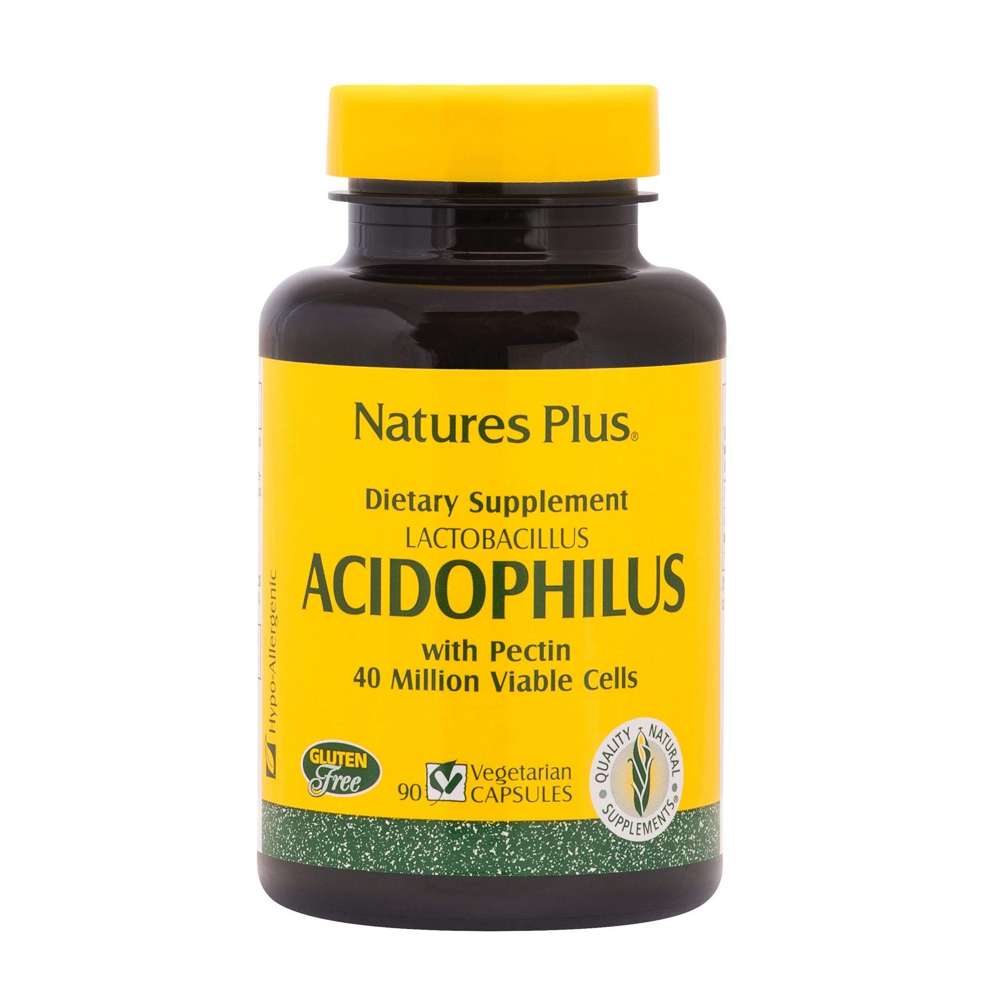 NaturesPlus Acidophilus - 40 Million CFU Lactobacillus Acidophilus, 90 Vegetarian Capsules - Probiotic Supplement with Pectin, Supports Healthy Digestion - Gluten-Free - 90 Servings by Nature's Plus