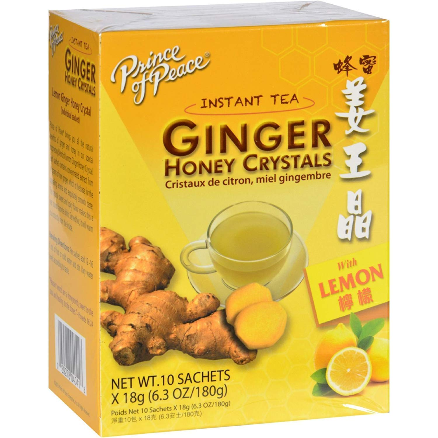 Prince of Peace Instant Lemon Ginger Honey Crystals, 10 Sachets – Instant Hot or Cold Beverage for Nausea Relief and Soothes Throat – Easy to Brew Ginger and Honey Crystals – Drink Like a Tea –
