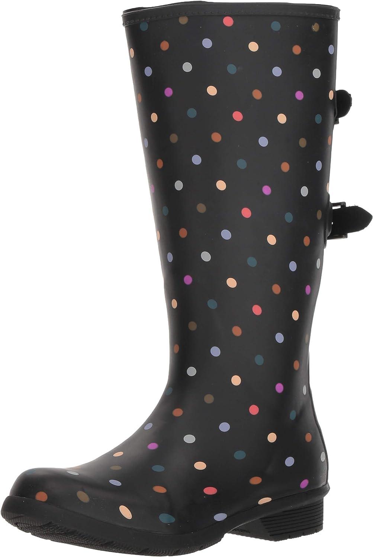 Chooka Versa Dot Rain Boot Wide Calf Black