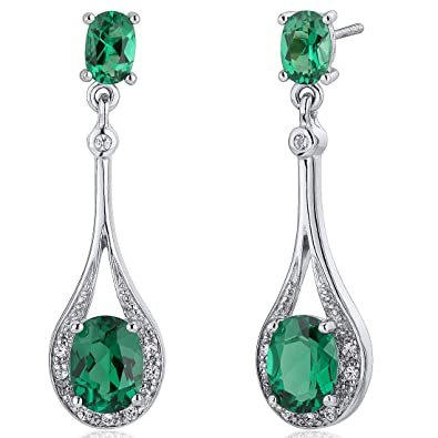 1b8df339d Amazon.com: Simulated Emerald Dangle Earrings Sterling Silver 3.50 Carats:  Jewelry