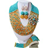 laanc Hot Jewelry Set supply 10 Rows Red And Gold Champagne Nigerian Wedding African Beads A-038I