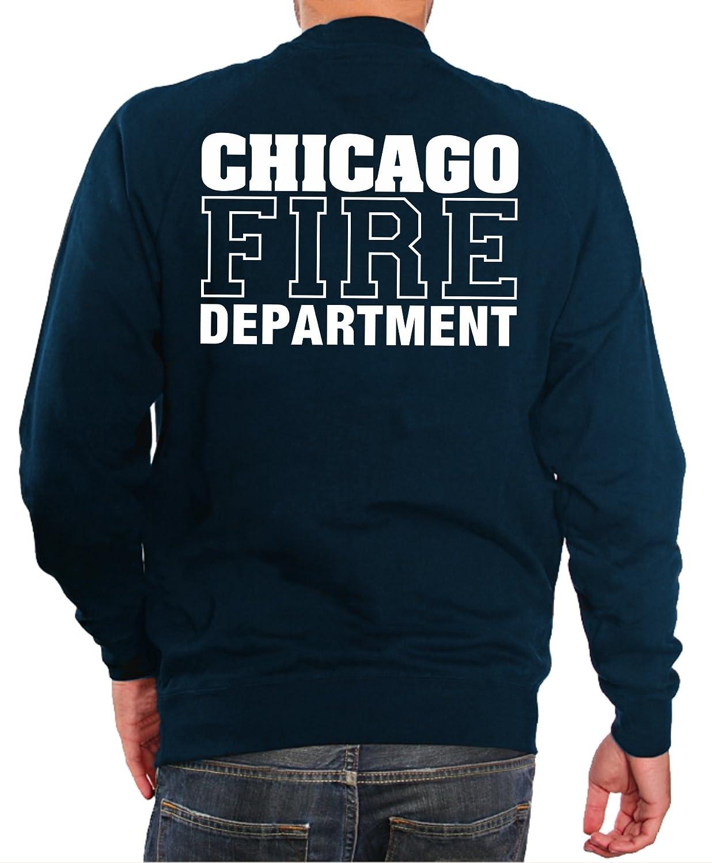 Sudore-shirt navy, con Chicago Fire Dept, Standard-emblema feuer1
