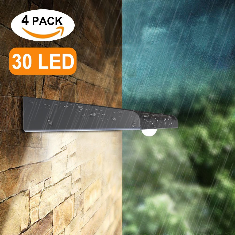 Mulcolor 4 Pack Solar Lights, Brightest 30 LED Solar Motion Sensor Light Outdoor Wireless Waterproof Solar Powered Security Light with Auto On/Off for Garden, Patio and Pathway