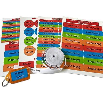 Pack de 146 etiquetas para marcar ropa y objetos. (Paleta 1) 50 etiquetas de tela + 84 etiquetas adhesivas + 12 etiquetas para zapatos + 1 llavero