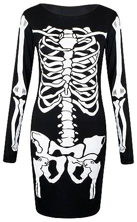 d55276246db1 LUSH LANE Womens Long Sleeves Skeleton Print Halloween Bodycon Dress at  Amazon Women's Clothing store: