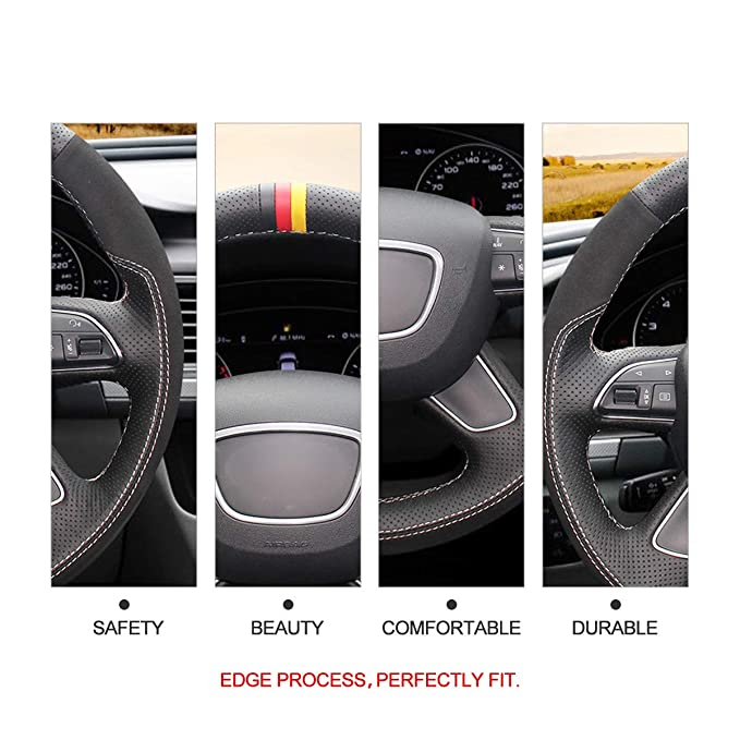 Black Leather Car Steering Wheel Cover Hand Sewing for Audi A4 B8 A6 C7 A7 A8 L