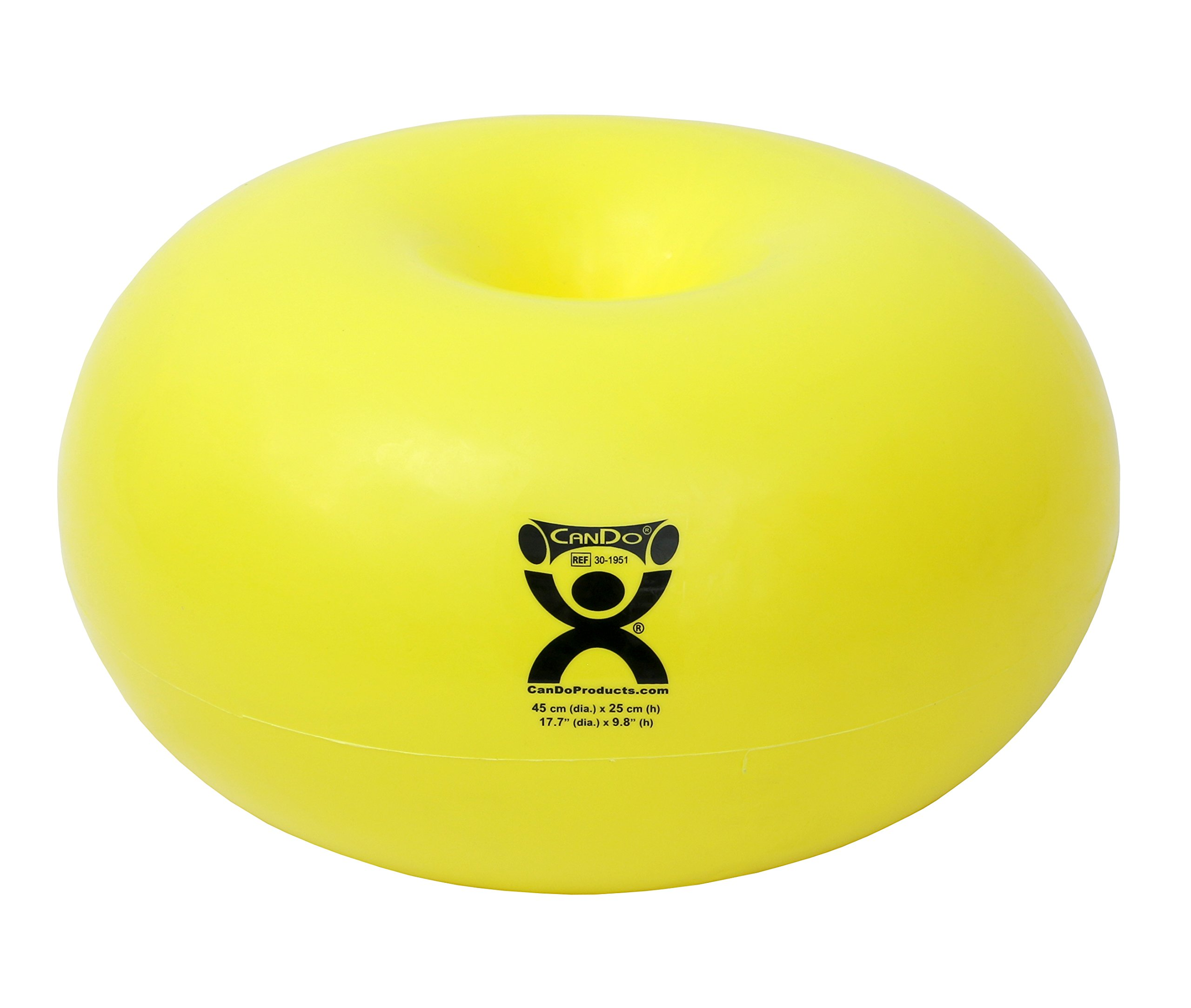 CanDo Donut Exercise, Workout, Core Training, Swiss Stability Ball for Yoga, Pilates and Balance Training in Gym, Office or Classroom. Yellow, 45 cm W x 25 cm by Cando