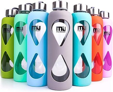 MIU COLOR® 550 ml botella de cristal ecológico, sin BPA portátil ...