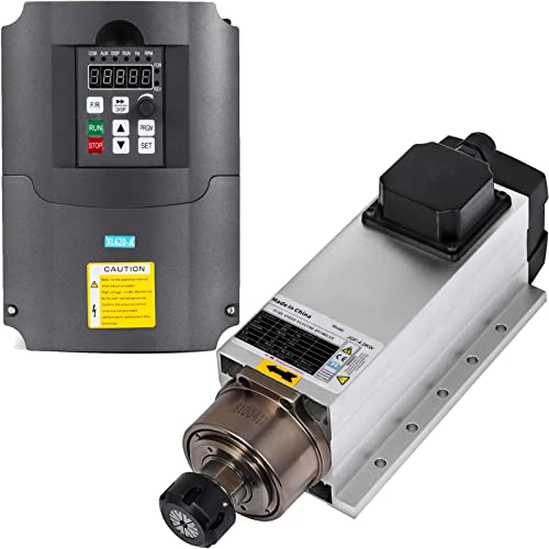 VEVOR Spindle Motor 4KW Square Air Cooled Spindle Motor ER25 18000RPM Collect VFD Variable Frequency Drive 220V 4KW for CNC Router Engraving Milling Machine