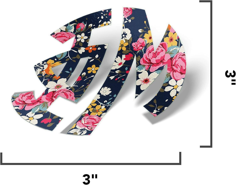 "Phi Mu 3/"" Monogram in Floral Print Sticker"