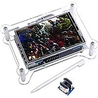 TFT visualización táctil, Kuman 8,9cm TFT visualización LCD Monitor con carcasa protectora, compatible con todos los Raspberry PI sistema, video Movie Play, Arcade Game, HDMI Entrada de audio, Updated 3.5'' HDMI screen + Case
