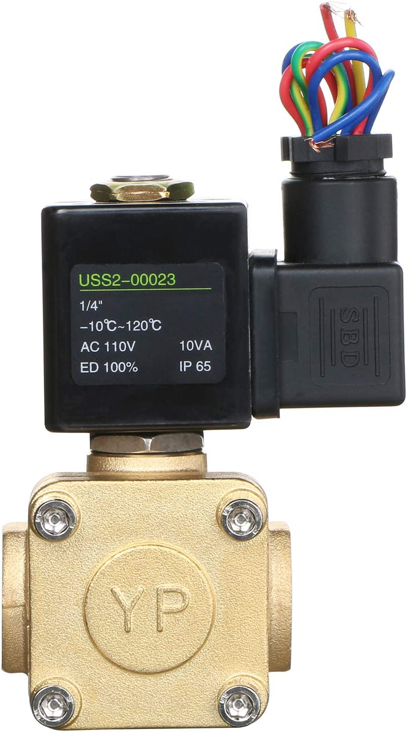 1//4 Brass Electric Solenoid Valve 110V AC 230 PSI Normally Closed VITON Water Air Oil
